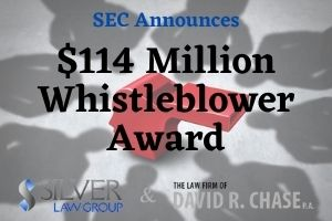 "The Securities and Exchange Commission (SEC) announced a $114 million whistleblower award, which is the highest in the program's history. The whistleblower's information and help led to a successful enforcement action.  The SEC's press release states that the massive award is made up of a $52 million award related to the SEC case and a $62 million award from actions by another agency, which is not named.  To understand just how large this award is, the SEC recently announced that it had a record fiscal year with $175 million awarded to 39 whistleblowers. This award is $114 million to a single whistleblower. The next biggest award was $50 million, made to an individual in 2020.  SEC Chairman Jay Clayton said ""Whistleblowers make important contributions to the enforcement of securities laws and we are committed to getting more money to whistleblowers as quickly and efficiently as possible.""  Scott Silver, Esq. a leading SEC Whistleblower attorney, commented ""This large award highlights the success of the SEC whistleblower program and the recognition that those who report fraud, especially those who work inside some of Wall Street's largest investment banks, can be confident that the SEC will work with whistleblowers and their counsel to rectify wrongdoing and protect the whistleblower."""