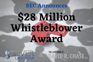 "On November 3, 2020, the SEC (Securities and Exchange Commission) announced in a press release that it had awarded more than $28 million to a whistleblower who ""provided significant information that aided the SEC in bringing a successful enforcement action."" The SEC protects whistleblowers' confidentiality and does not reveal identifying information about them. The only details the SEC has revealed about the whistleblower are that they reported information internally and ""saved the staff time and resources by providing testimony and identifying a key witness."" Though nothing else is revealed about this award, the SEC states that whistleblowers can receive between 10% and 30% of the money collected when the sanction is $1 million or more. For this whistleblower to receive $28 million, that means the SEC collected a sanction somewhere between about $93 million and $280 million."