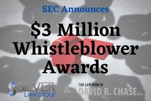 "The Securities and Exchange Commission (SEC) announced that whistleblower awards totaling almost $3M had been paid to five people who provided information to the commission that led to three different enforcement actions.  Orders Determining Whistleblower Claim  The first order awarded $1.8 million to one whistleblower who ""provided information that would have been difficult to detect in the absence of the tip and provided extraordinary assistance to SEC staff resulting in the return of the money to investors."" Scott Silver, Silver Law Group's managing partner which publishes this site, represented this whistleblower and helped him submit his tip years ago.  The whistleblower had been a broker at Morgan Stanley Smith Barney. His tip related to fraudulent marketing regarding a foreign currency trading program by Morgan Stanley and Citigroup. The SEC investigated and collected almost $6 million in disgorgement and penalties. Given our client's high-quality information and professional hardships suffered, we requested that he receive the maximum 30% award, which he did."