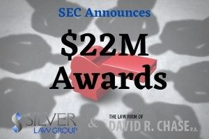 """The SEC announced today that it has awarded $22 million to two individuals who provided """"information and assistance"""" to the agency that resulted in a successful enforcement action against a financial services firm.  The first whistleblower received a whopping $18 million award due to being the original source of information that started the investigation.  The agency awarded the second whistleblower $4 million submitted important information during the course of the investigation, after it began.  Both whistleblowers provided reliable information and offered assistance that helped the agency in understanding the complexity of the transactions related to the investigation.  Whistleblowers can become eligible for awards when they provide the agency reliable information that leads to a successful enforcement action."""